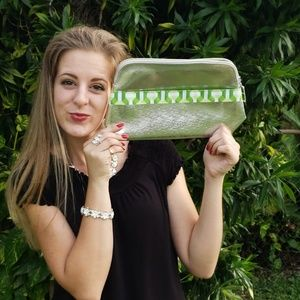 Green and Silver Makeup Bag